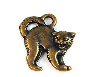 TierraCast Brass Oxide (plated) Scary Cat Halloween Charm