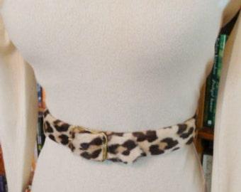 HERE KITTY--Furry 1950s Faux Leopard Belt