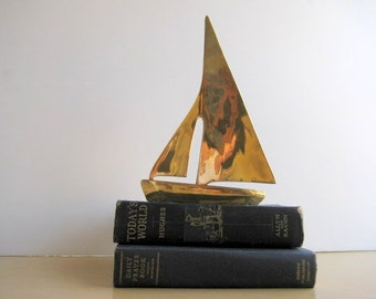 Brass Sail Boat Mid Century Modern Home Decor