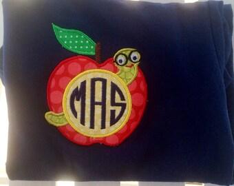 Personalized/ monogrammed School/teacher apple worm applique NAVY shirt
