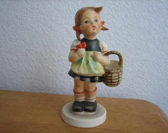 Hummel Girl with Basket and Flowers   W. Germany   circa 1960's - 1972