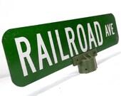 "vintage sign, railroad, street sign, 24"", man cave, metal, green, white, train, locomotive"