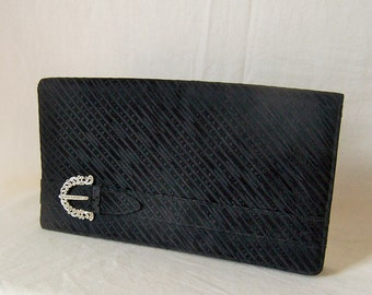 Morris Moskowitz MM vintage black satin silk marcasite clutch bag purse