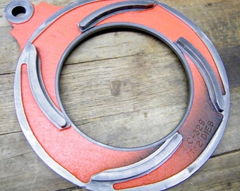 Old Industrial Salvage Steel Die Head Plate