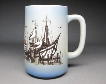 otagiri tall / grand mug with ships , seagulls , shack beach ocean