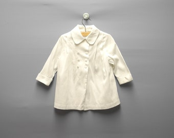 Vintage Baby Clothes, 1950's Handmade White Double Breasted Baby Girl Coat Set, White Baby Coat, Spring Baby Coat, Size 12 Months