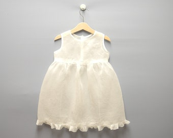 Vintage Baby Clothes, 1910's Handmade Sleeveless White Organdy Baby Girl Dress, Vintage Baby Dress, White Baby Dress, Size 4T