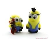 Kevin and Bob Minion Despicable me  Lampwork  Bead / miniature / sculpture / figurine
