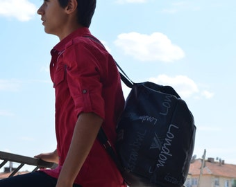 Black Backpack, Student Backpack,Paris ,Roma ,Back To School -  Rome Backpack/Travel,School,Daily Backpack/Unisex Rucksack