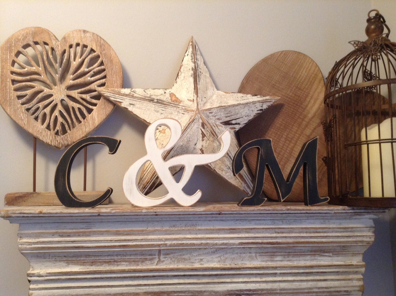 Wooden wedding letters free standing set of 3 hand for Standing wood letters to paint