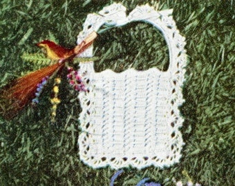 1950's Crocheted Baby Bib with Lacy Edging Pattern Instant Download PDF