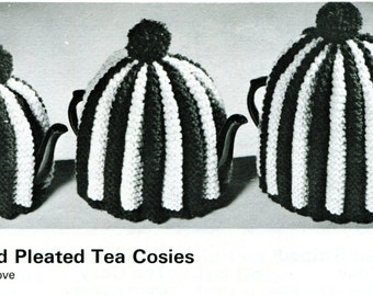 1960's Pleated Knitted Tea Cosies Pattern Instant Download PDF
