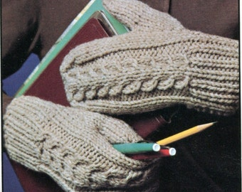 1960's Cable Knit Mittens Pattern Instant Download PDF