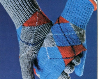 1960's Knitted Argyle Plaid Gloves Pattern Instant Download PDF