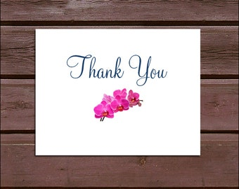 100 Pink Orchids Wedding Thank You Notes