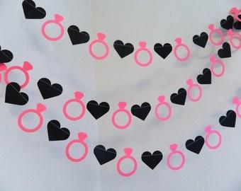 Bridal Shower Decorations - Lingerie Party Decor- Bachelorette party Decor- 10 foot diamond ring garland your color choice