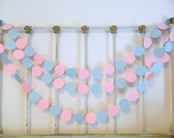 Gender Reveal Baby Shower Decorations - 10 foot Pink or blue We Love You paper garland - Pink and Blue Baby Shower Decor- Twins Decoration