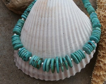 Graduated Turquoise Disk with Sterling Silver Beads Necklace
