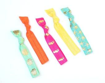 Ariel - 5 Comfort Elastic Hair Ties / Bands / Bracelets Ocean Sea