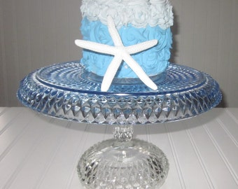 cake stand upcycled blue cake plate stand Periods,Styles,collectible glassware serveware,entertaining