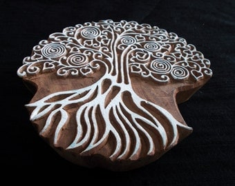 Tree of Life Indian block printing stamp/tjap/wooden block for printing/ paper and fabric printing stamp