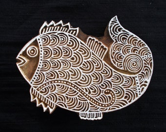 Big Beautiful Intricate Fish Indian block printing stamp/tjap/textile pottery stamp/wooden block for printing on paper/ fabric