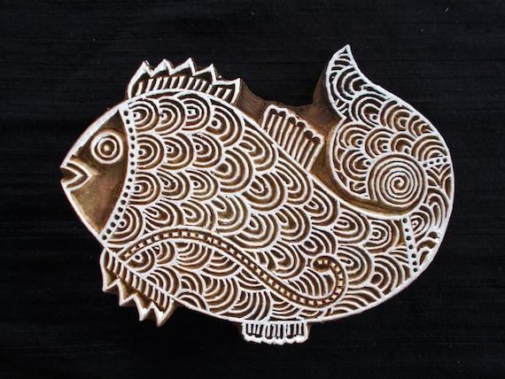 Big beautiful intricate fish indian block printing stamp for Big fish printing