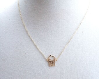 Gold Petite Giraffes Love Necklace