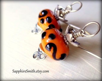 GREAT PUMPKIN Orange & Black Artisan Lampwork Glass Bali Sterling, Hill Tribe Fine Silver Earrings