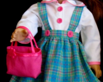Teal Plaid Jumper Hat Purse White Blouse 4 Piece Set Fits American Girl Dolls or Similar 18 Inch Dolls