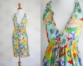 Vintage 60s Sundress, 1960s Beach Dress, Floral Flower Print, Cover Up, Mod