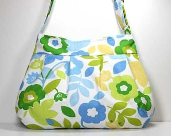 Blue, Green, Yellow Leaves and Flowers on White Pleated Shoulder Purse Sling Bag Hobo Shoulder Bag Cross Body Bag Crossbody Bag