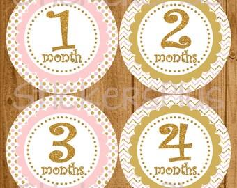 Monthly Baby Milestone Stickers Plus FREE Gift Gold Glitter Pink Chevron Dots Newborn Baby Growth Stickers Baby Month Stickers Shower Gift