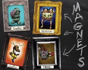 Monster Fridge Magnet 4-Pack Stocking Stuffer / Scary Toy Decoration