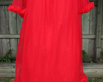 vintage 60s red sheer chiffon sissy nightgown ruffle sleeves and hem M berkliff usa