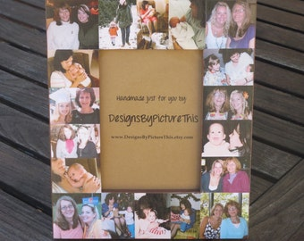 """Mother of the Bride Collage Picture Frame, Custom Maid of Honor Frame, Unique Sister Gift, Personalized Bridesmaid Frame, NEW SIZE! 5"""" x 7"""""""
