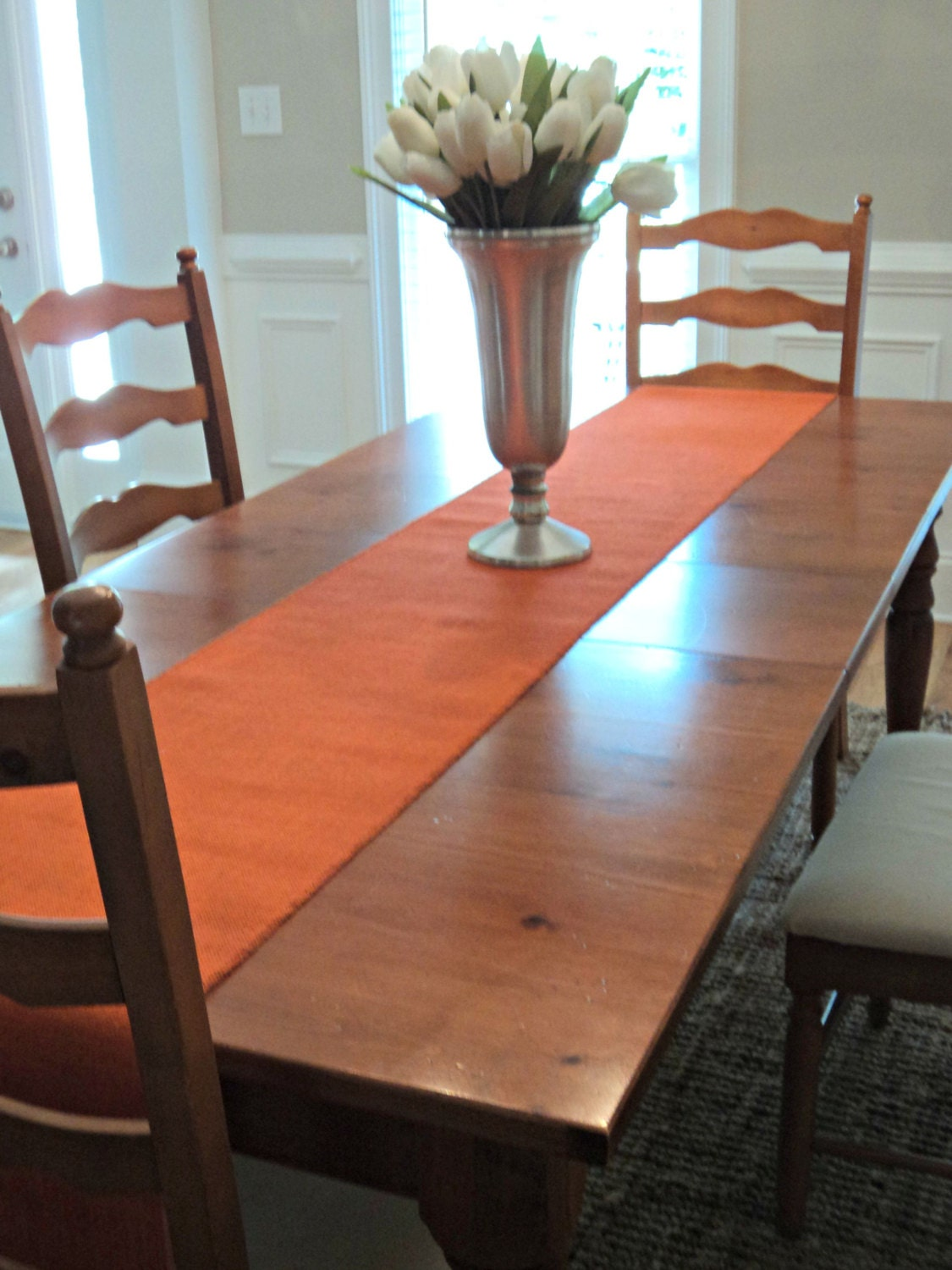 Description. Rich, Bright And Bold This Orange Burlap Table Runner ...