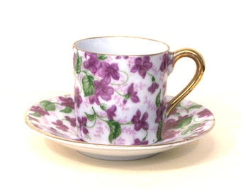 Teacup Purple Violets Floral Porcelain Miniature Tea Cup Gold Handle Rims