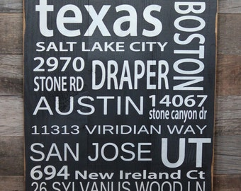 Large Wood Sign - No Place Like Home - Street Names - Subway Sign - Address Sign - Travel - Places You've Been - Address - Housewarming