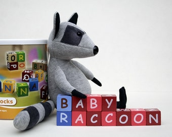 Baby Raccoon cuddly plush toy, cute soft animal plushie