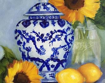 Fine art print:  Sunflowers, lemons and Blue and White Ginger Jar, chinoiserie, giclee