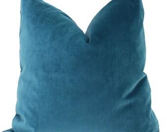 Mohair Velvet Pillow, Peacock Blue Decorative  Pillow Cover 18x18 , 20x20, 22x22, Eurosham, Lumbar pillow, Accent pillow,  Throw pillow