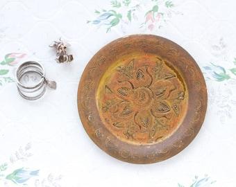 Brass Small Trinket Dish - Patina Ring holder