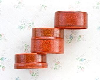 Orange Lacquer Round Trinket Box - 2 Part Storage - Made in Japan