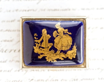 Rococo Lovers - Vintage pill Box with Porcelain Lid in Dark blue and Gold