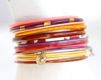 Colorful Bangles - Instant Collection of 18 Boho Bracelets - Gypsy cuff - Orange Pink Yellow Purple