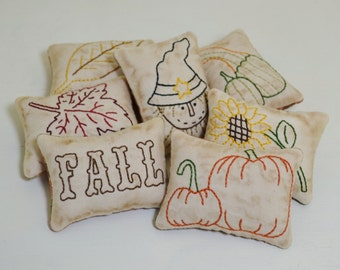 Fall Decorative Pillows - Autumn Leaves Bowl Fillers - Primitive Tucks - Scarecrow - Sunflower - Pumpkins - Hand Embroidery - Orange Plaid