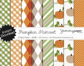 Pumpkin Harvest - Cute and Simple Autumn Themed Digital Papers - Personal and Commercial Use ph01