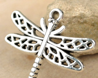6pcs-filigree Dragonfly charm-Antique Silver tone dragonfly charm