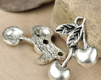 8pcs-Cherry fruit charm- antique silver, Tibetan silver DIY charm beads-ALZ 0370